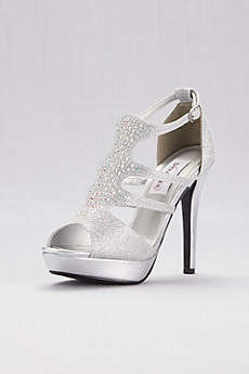 Dyeables Grey (Shimmer Platform Cage Heels with Crystals)