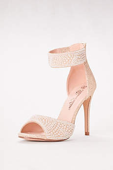 David's Bridal Beige Peep Toe Shoes (High Heel Pearl-Embellished Peep Toe Sandals)