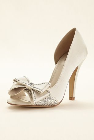 a3ff29ecf6f8 David s Bridal Black Ivory Peep Toe Shoes (Peep Toe Heel With Bow)