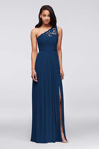 Soft Flowy Davids Bridal Long Bridesmaid Dress