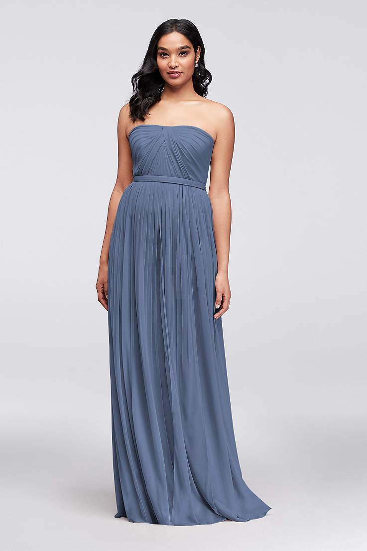 c2f1edaa8a8 Soft   Flowy David s Bridal Long Bridesmaid Dress