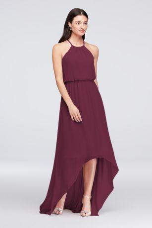 High Low Sheath Halter Dress - David's Bridal