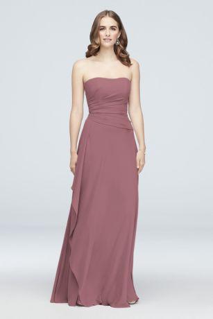 Georgette Cascade Strapless Bridesmaid Dress by David's Bridal