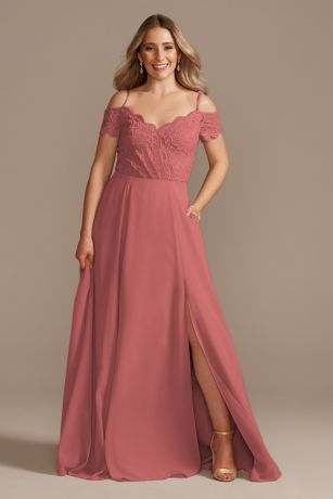 Soft & Flowy;Structured David's Bridal Long Bridesmaid Dress