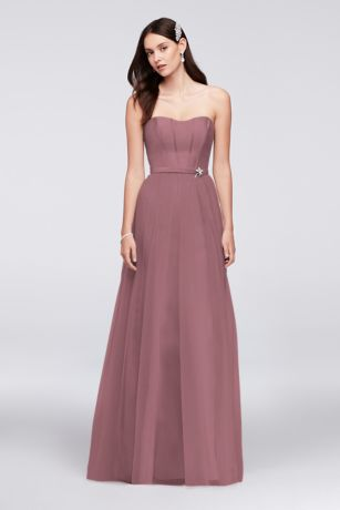 Mikado And Tulle Long Bridesmaid Dress by Oleg Cassini