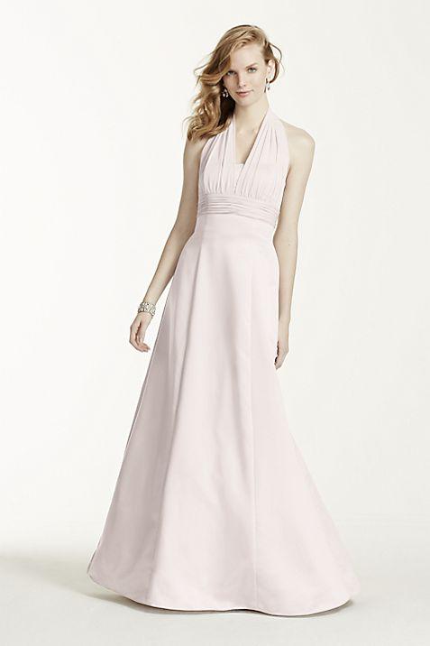 Satin Empire Waist Ball Gown with Halter | David\'s Bridal