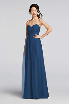 Pleated Bodice Tulle Dress with Removable Belt