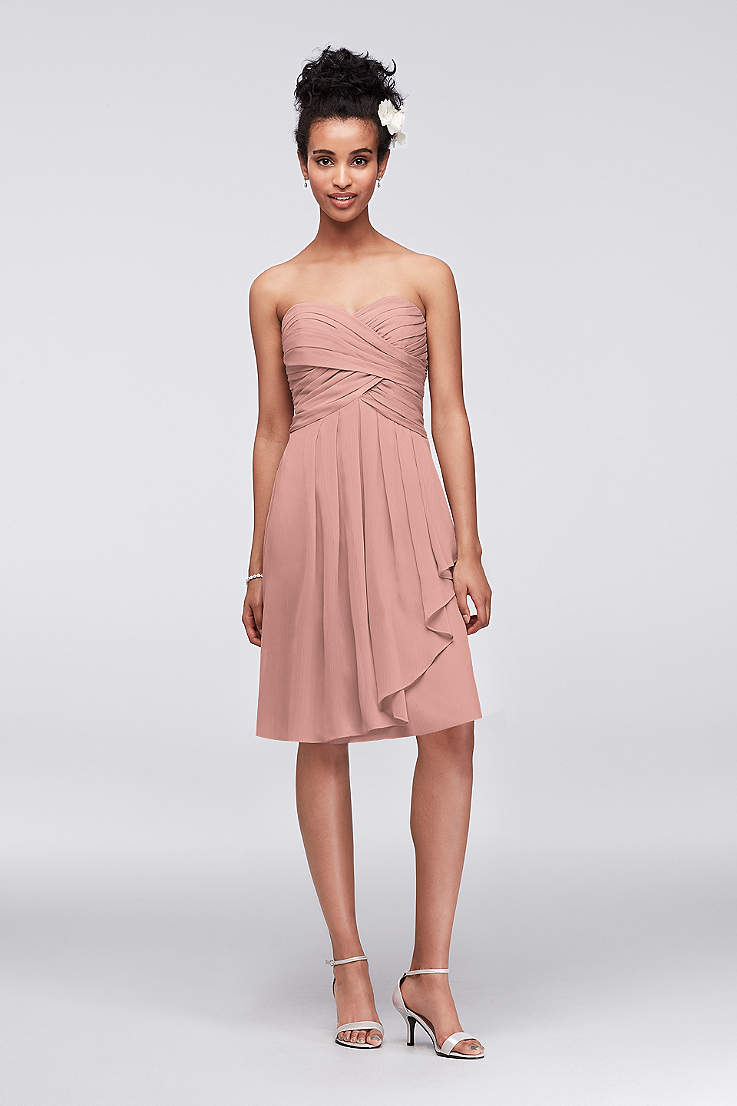 130260aed Soft & Flowy David's Bridal Short Bridesmaid Dress