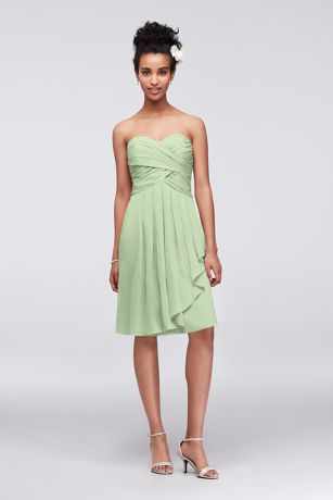 Short Crinkle Chiffon Dress with Front Cascade