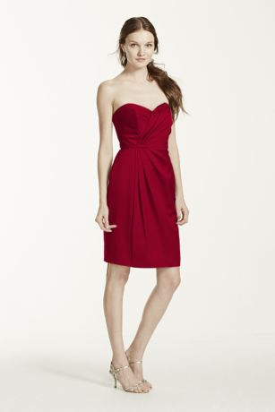 Short Strapless Satin Dress with Pleating