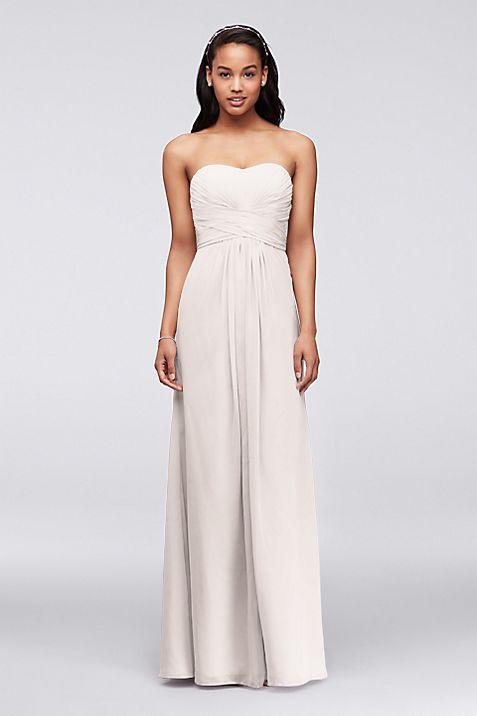Long Strapless Chiffon Dress with Pleated Bodice   David\'s Bridal