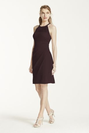 Short High Neck Mesh Dress with Side Cascade