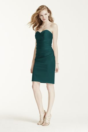 Short Stretch Satin Dress with Sweetheart Neckline