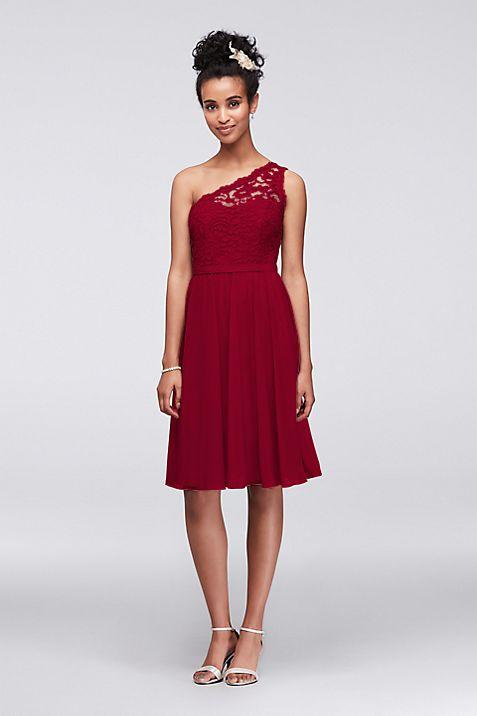 Short One Shoulder Corded Lace Dress | David\'s Bridal