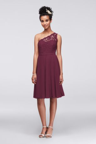 10d5eb1b46cc Soft   Flowy Structured David s Bridal Short Bridesmaid Dress