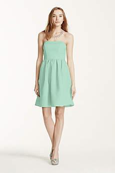 Short Strapless Faille Dress with Full Skirt
