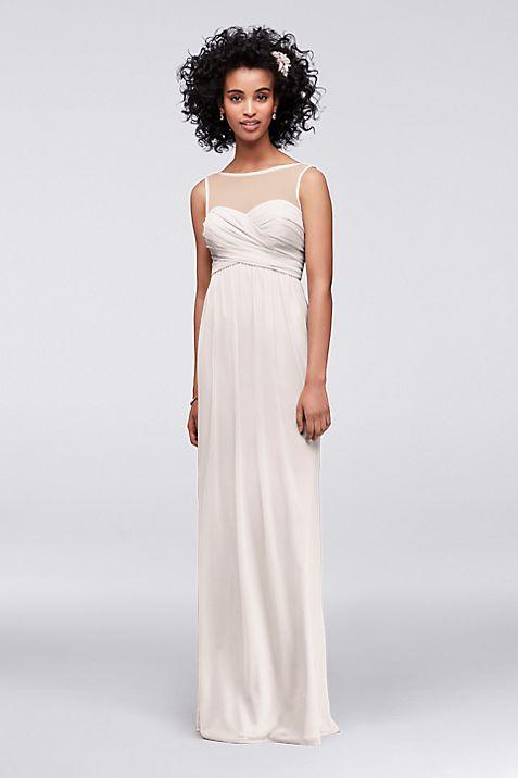 Long Mesh Dress with Illusion Sweetheart Neckline | David\'s Bridal