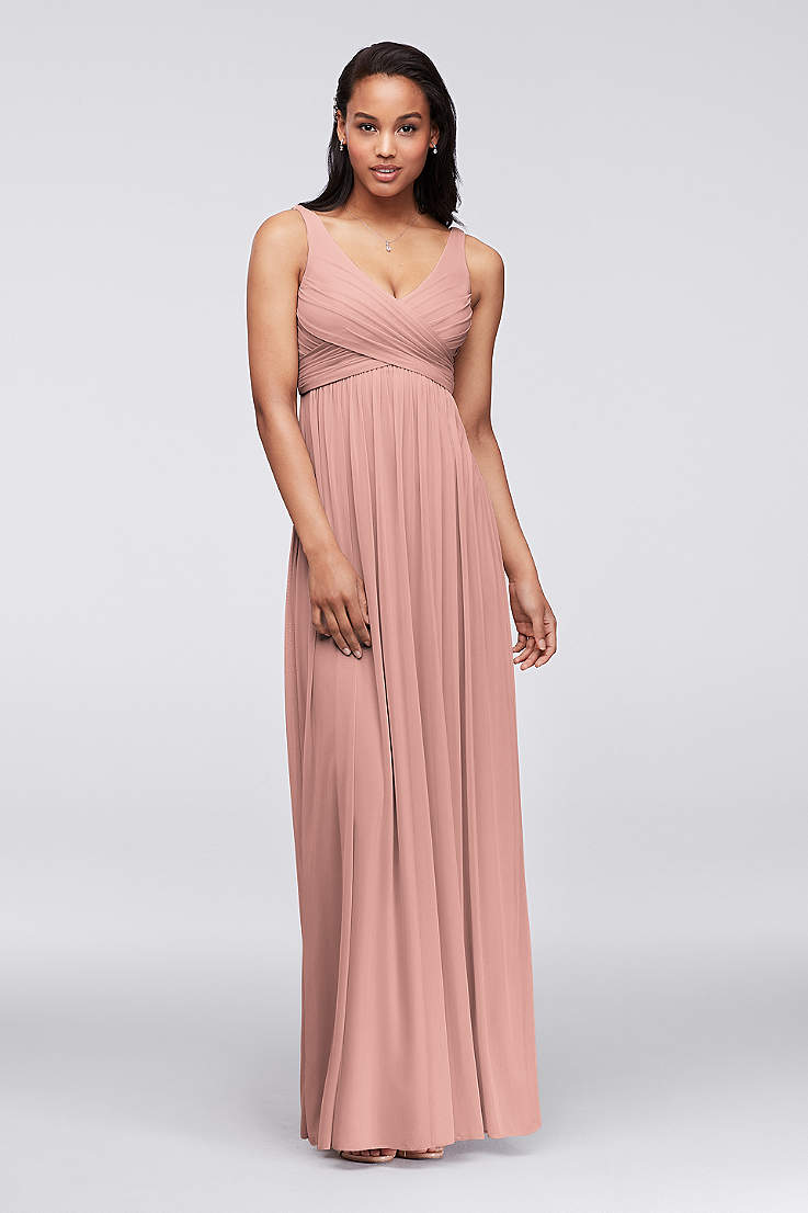 b110323dcd382 Soft & Flowy David's Bridal Long Bridesmaid Dress