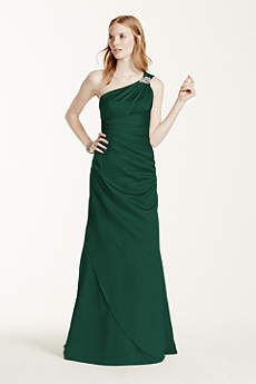 Long One Shoulder Satin Dress with Embellishments