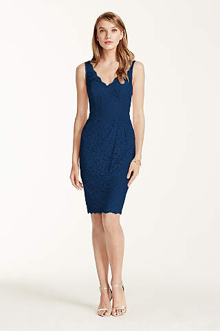Short Tank Lace Dress With V Neckline