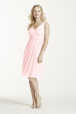 Short Mesh Bridesmaid Dress with Cowl Back