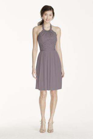 Short Lace Mesh Dress with Halter Neckline