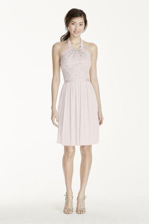 Short Lace Mesh Dress with Halter Neckline