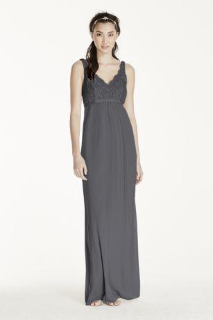 Maternity Sleeveless Long Corded Lace Mesh Dress
