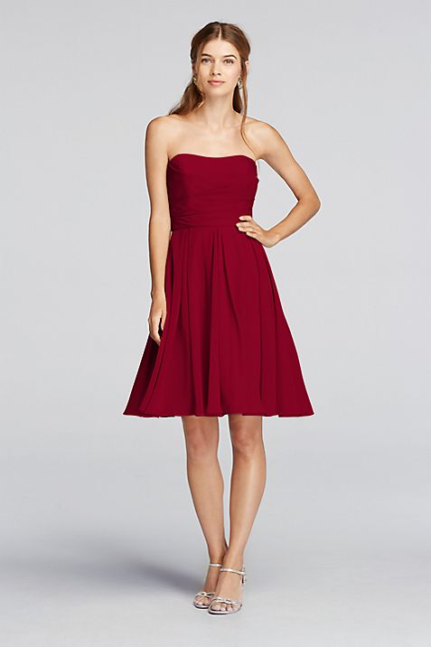 5d1aa6a46056 Strapless Pleated Bodice Dress | David's Bridal