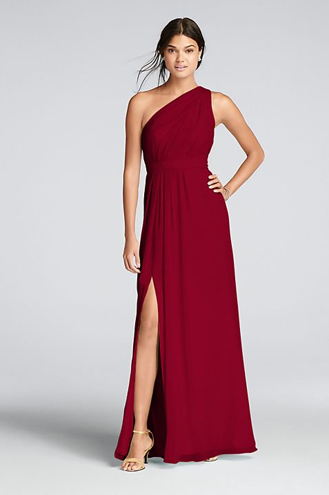 Long One-Shoulder Crinkle Chiffon Dress | David\'s Bridal