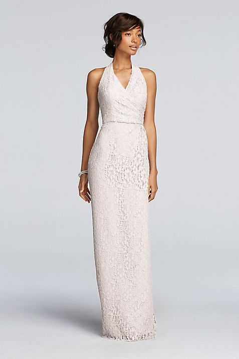 All Over Lace Halter Sheath Dress | David\'s Bridal