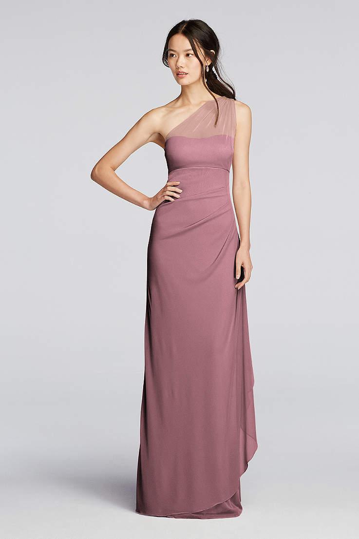 561c3708d91 Davids Bridal One Shoulder Chiffon Bridesmaid Dress