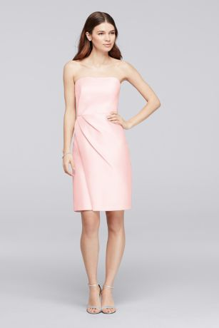 Mikado Short Bridesmaid Dress with Side Pleats
