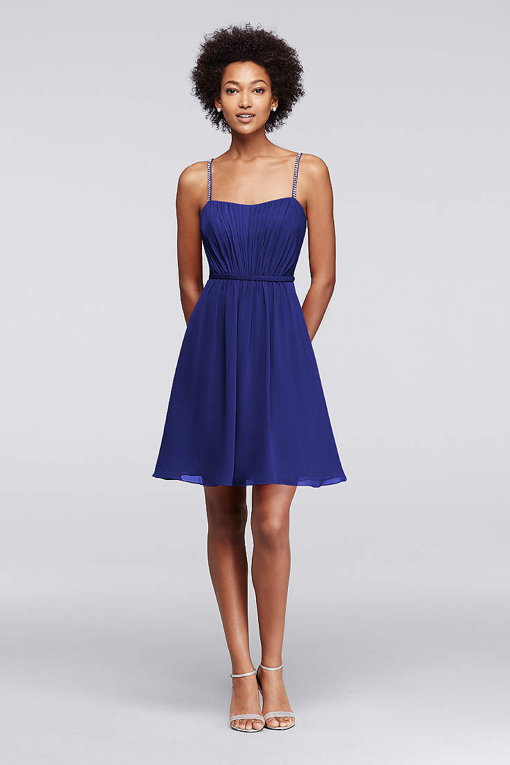 98a20ccb649 Chiffon Short Bridesmaid Dress with Pleating
