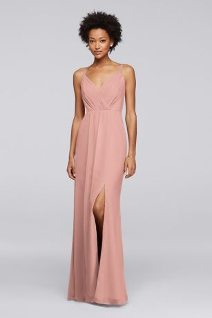 Long Bridesmaid Dress with Beaded Straps