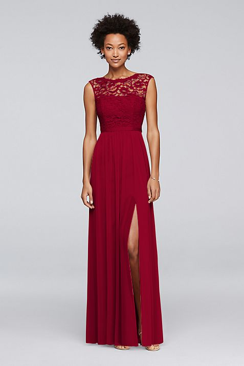 Long Bridesmaid Dress with Lace Bodice | David\'s Bridal