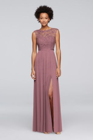 Lace Bridesmaid Dress with Long Mesh Skirt
