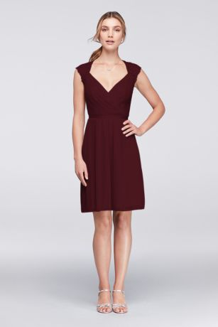 Soft Flowy Structured David S Bridal Short Bridesmaid Dress
