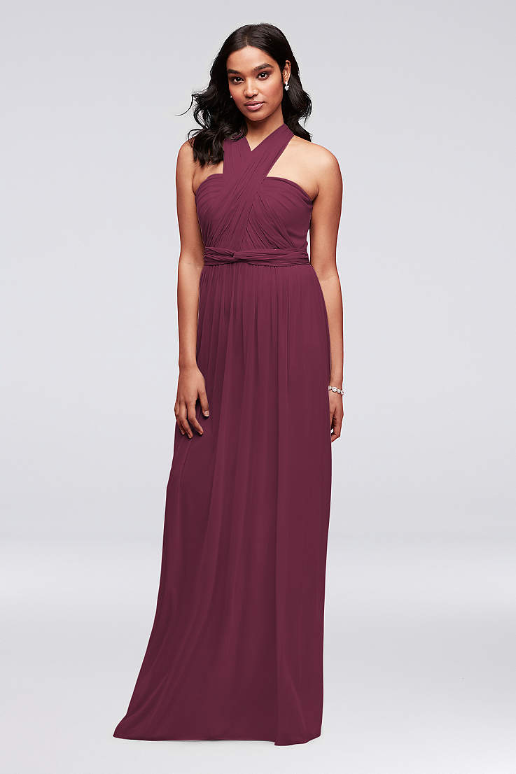 Soft   Flowy David s Bridal Long Bridesmaid Dress 368360ede372