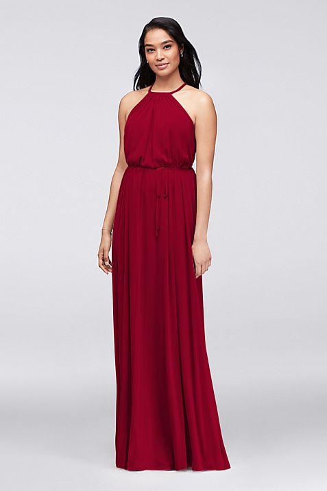 soft mesh halter bridesmaid dress with slim sash david s bridal