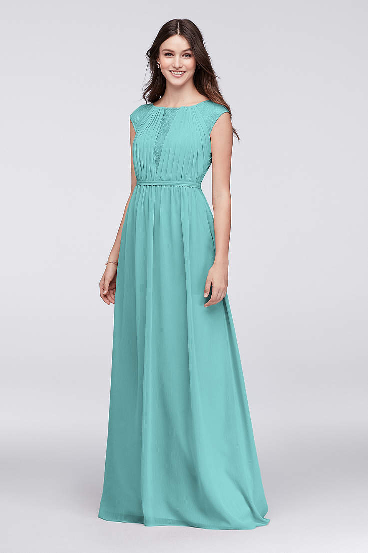 Chiffon Bridesmaid Dress with Chantilly Lace Inset 10d2db95f1d6