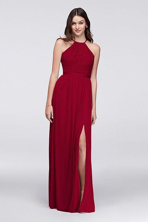 Open-Back Lace and Mesh Bridesmaid Dress | David\'s Bridal
