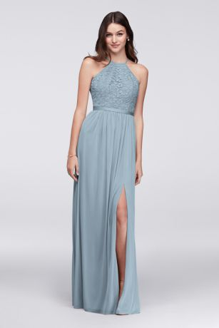 Open-Back Lace and Mesh Bridesmaid Dress
