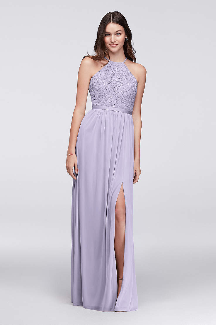 Soft Flowy Structured David S Bridal Long Bridesmaid Dress