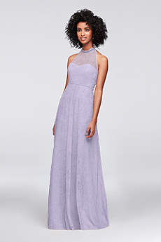 Allover Chantilly Lace A Line Bridesmaid Dress