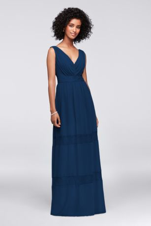 Lace-Inset Chiffon V-Neck Long Bridesmaid Dress