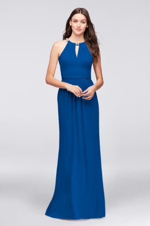 Crepe Halter Bridesmaid Dress with Beaded Neckline