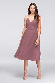 Tea Length Sheath Spaghetti Strap Dress - David's Bridal