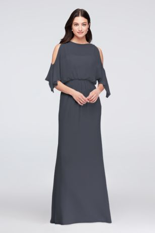 Cold-Shoulder Blouson Chiffon Bridesmaid Dress