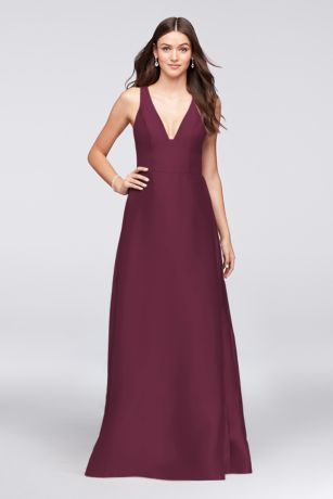 V-Neck Mikado Bridesmaid Dress with Side Pleats